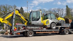Transport vom Wacker Neuson ET65 und Radlader Kramer 5085T excavator bagger Minibagger