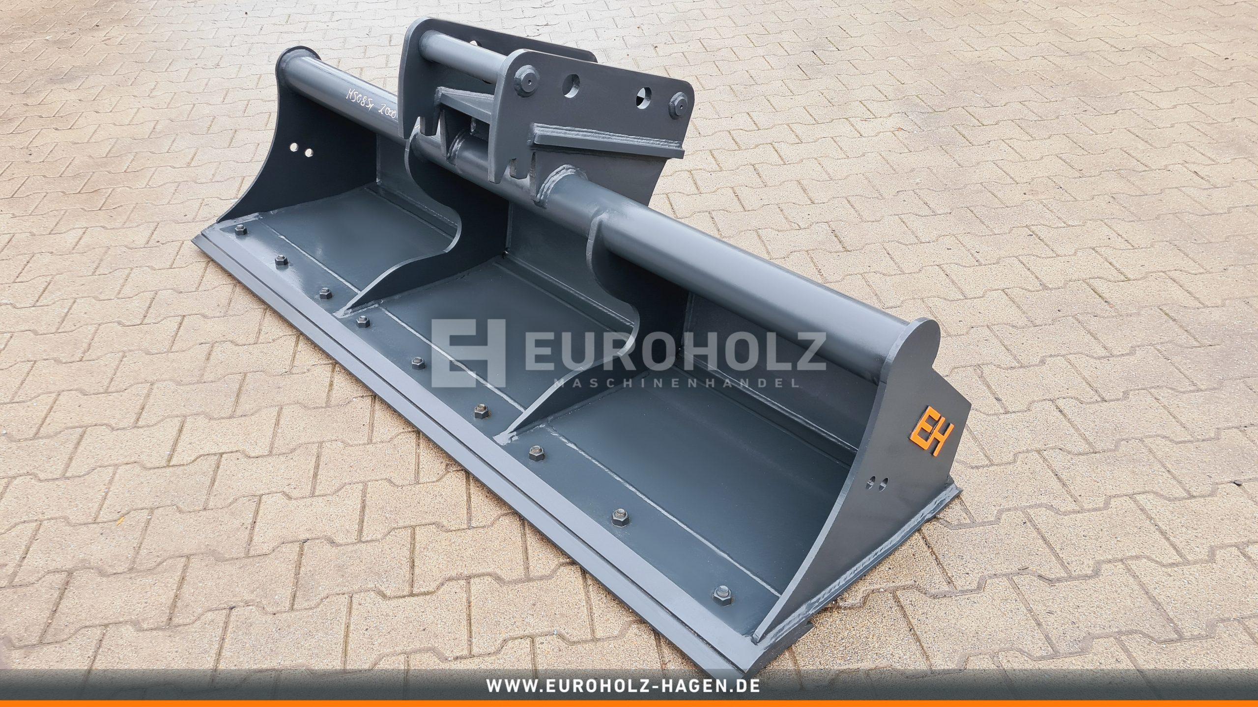 Grabenräumlöffel passend für Lehnhoff MS08 SY / 2000 mm / Kat. 1G / mit wendbarem Unterschraubmesser