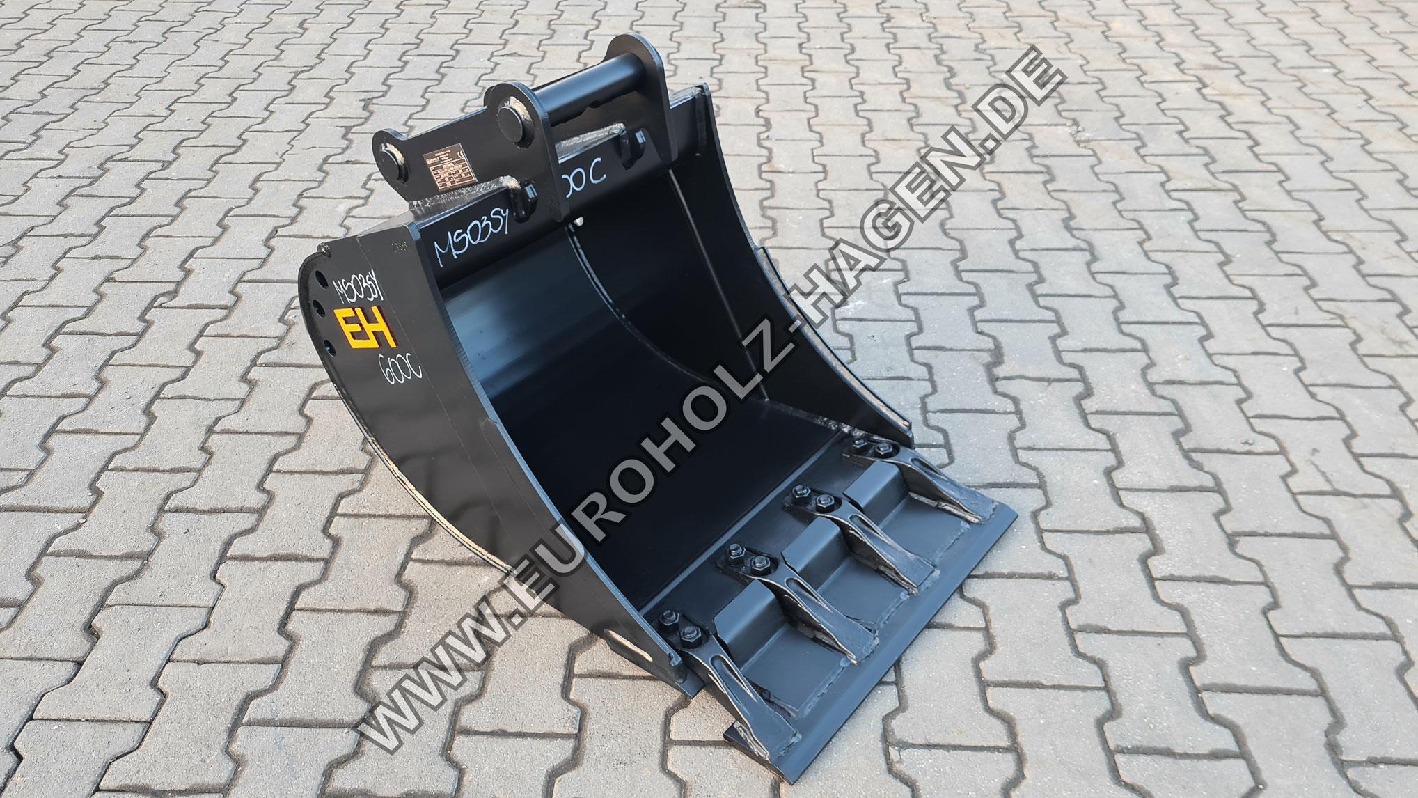 Tieflöffel passend für Lehnhoff MS03 SY / 600 mm / Kat. 4K / mit Aufsteckmesser