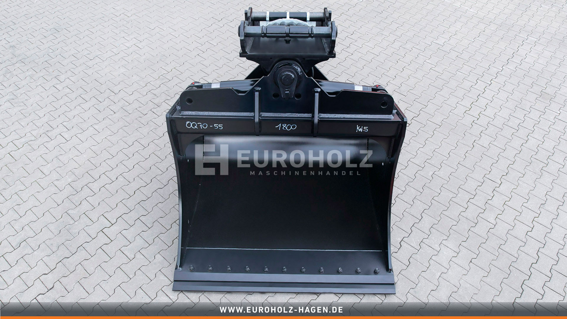 Hydraulischer Tieflöffel OilQuick OQ70-55 / 1600 mm / Kat. 3G / mit Unterschraub-Wendemesser